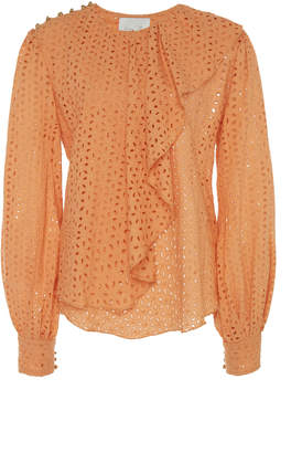 Johanna Ortiz London Calling Eyelet Ruffled Cotton Blouse Size: 0