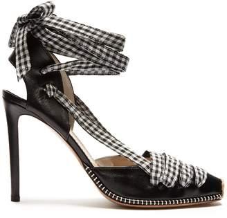 Altuzarra Gingham-tie leather d'Orsay pumps