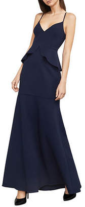 BCBGMAXAZRIA Abrielle Peplum Fit-and-Flare Gown