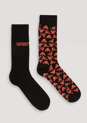 Emporio Armani Set Of 2 Pairs Of Socks With Embroidered Logo