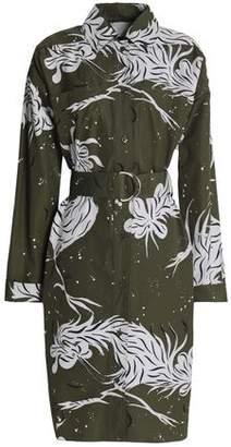 Nina Ricci Belted Printed Cotton-Poplin Shirt Dress