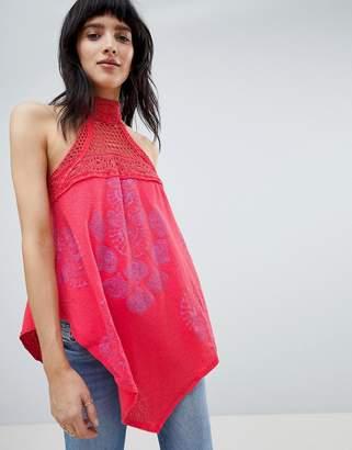 Free People Mandolin Print Tank with Crochet Neck