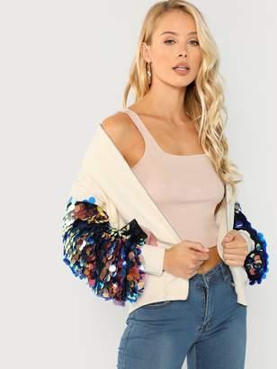 Shein Contrast Sequin Sleeve Pocket Front Jacket