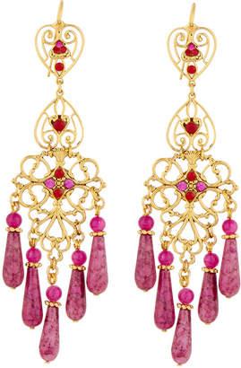 Jose & Maria Barrera Agate & Crystal Filigreed Chandelier Earrings