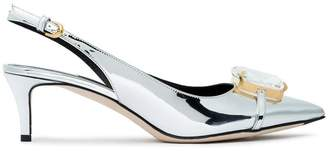 Marco De Vincenzo Silver crystal 45 Patent Leather slingbacks