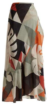Adriana Degreas - Tropiques Abstract Print Wrap Cotton Skirt - Womens - Black Multi