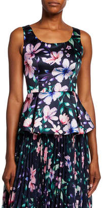 Marchesa Floral-Printed Sleeveless Mikado Peplum Top w/ Cutout Back & Bow