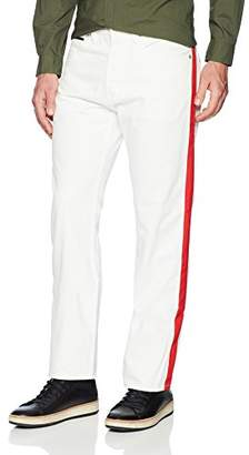 Calvin Klein Jeans Men's High Rise Straight Tapered Denim Jean Band Pant Red Stripe