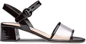 Prada Plexiglas and patent leather sandals