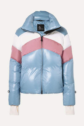 Moncler Lamar Color-block Quilted Down Jacket - Light blue