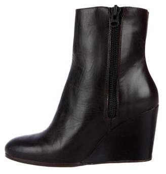 Closed Leather Wedge Boots