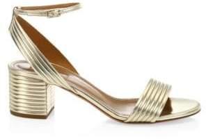 Aquazzura Sundance Metallic Ankle-Strap Sandals