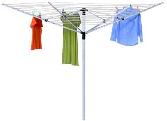 Honey-Can-Do In-Ground Umbrella Dryer with 165' of Drying Line, White