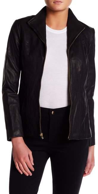 Cole Haan Cole Haan Genuine Leather Front Zip Wing Collar Jacket