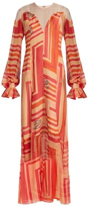 Katie Eary Geo Print Silk Chiffon Maxi Dress - Womens - Red Multi