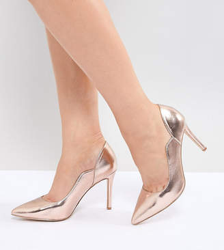 Cassandra Faith Wide Fit Rose Gold Pointed Heeled Shoes