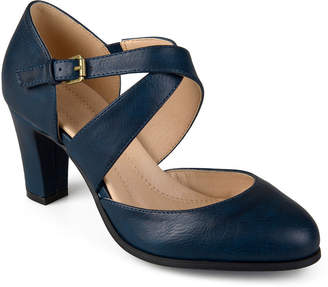 Journee Collection Womens Ainsli Pumps Open Toe Stacked Heel