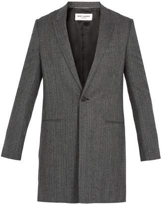 Saint Laurent Peak-lapel herringbone-wool overcoat
