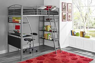DHP Studio Loft Bunk Bed Over Desk and Bookcase with Metal Frame