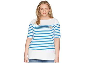 Lauren Ralph Lauren Plus Size LRL Striped Cotton T-Shirt Women's Clothing