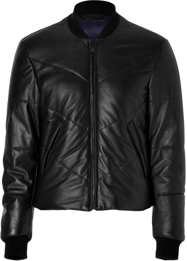 Kenzo Leather Down Bomber Jacket in Black