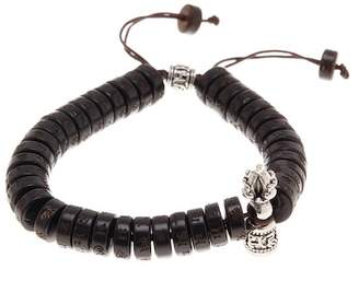 "Jean Claude Engraved Flat Disc Wooden Beads & \""Healing & Power\"" Charm Adjustable Bracelet"