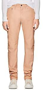 Helmut Lang Men's Leather High-Rise Straight-Leg Jeans - Beige, Tan