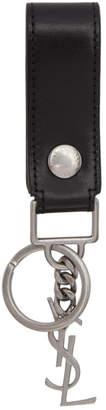 Saint Laurent Black Leather Logo Keychain