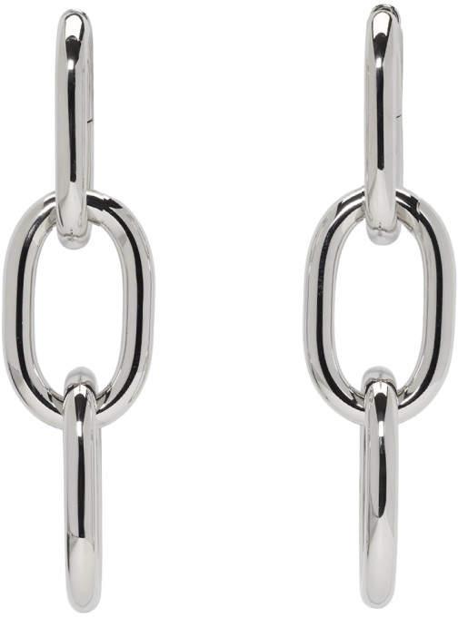 Silver Three Link Bike Chain Earrings