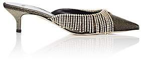 Area Women's Crystal-Embellished Lamé Mules - Gold
