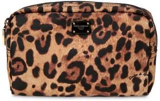 Dolce & Gabbana Nylon Leopard Print Beauty Case