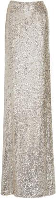 Monique Lhuillier High Waist Sequin Embellished Skirt