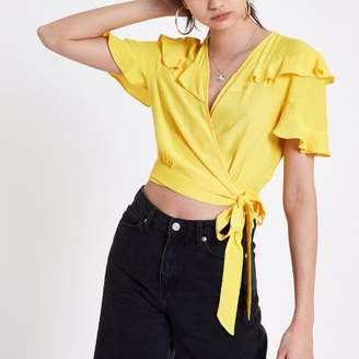 River Island Womens Yellow frill wrap tie side crop top