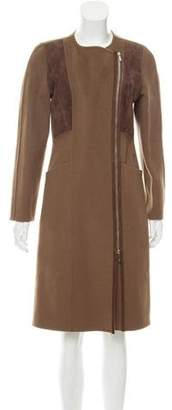 Lafayette 148 Suede-Accented Wool Coat