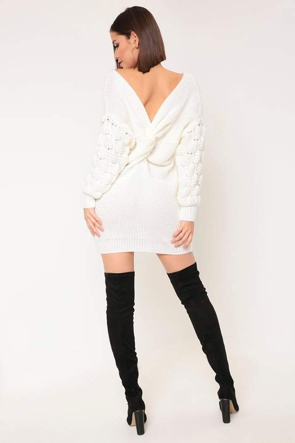 Isawitfirst Cream Bubble Sleeve Jumper Dress
