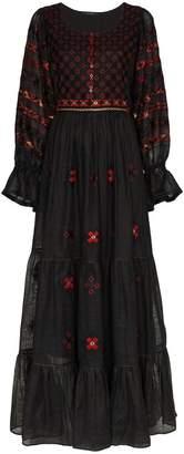 Vita Kin Jodhpur embroidered linen maxi dress