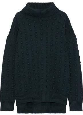 Lela Rose Pompom-embellished Wool And Cashmere-blend Turtleneck Sweater