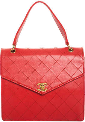 Chanel Red Diamond Quilted Caviar Leather Envelope Satchel