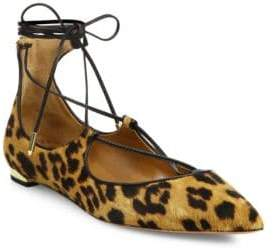 Aquazzura Christy Leopard-Print Calf Hair Lace-Up Flats
