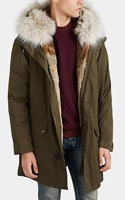 Yves Salomon Army by Men's Fur-Trimmed & Fur-Lined Down Parka - Olive