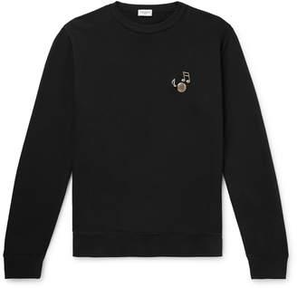 Saint Laurent Embellished Loopback Cotton-Jersey Sweatshirt - Men - Black
