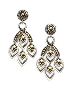 John Hardy Naga 18K Yellow Gold& Sterling Silver Chandelier Earrings