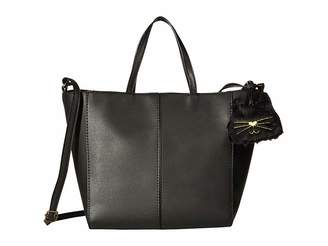 T Shirt Jeans Tote With Plush Cat Dangle Handbags