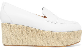 Gabriela Hearst - Brucco Leather And Jute Platform Loafers - Ivory