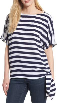 KORS MICHAEL Michael Side Tie Striped Top