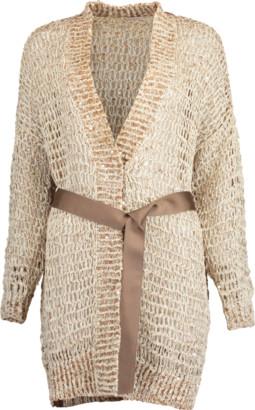 Brunello Cucinelli Woven Wax Cotton Belted Open Cardigan