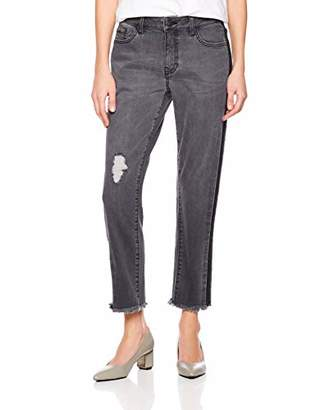 PD Peppered Denim Women's High-Waist Cut-Off Ripped Jean with Side-Stipe