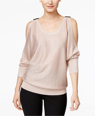 INC International Concepts Embellished Cold-Shoulder Sweater, Only at Macy's $69.50 thestylecure.com