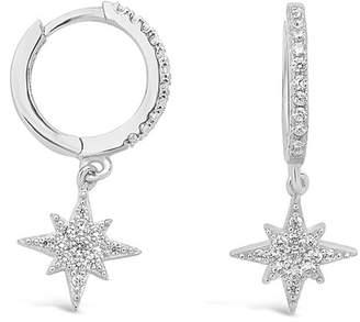 Sterling Forever Sterling Silver Pave CZ Starburst Drop Huggie Hoop Earrings