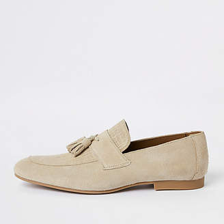 River Island Stone suede tassel loafers